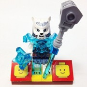 "Minifigure Packs: Lego Legends Of Chima Bundle ""(1) Ice Bear Tribe General Icerlot"" ""(1) Figure Display Base"" ""(2) Figure Accessorys (Frost Hamma & Translucent Ice Crystal)"""