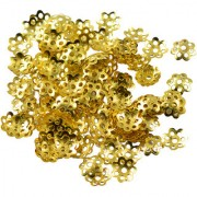 Imported 8Mm Gold Plated Metal Flower Design Bead End Caps Pack Of 100 Pcs