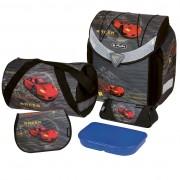 Ghiozdan ergonomic echipat (geantă sport, necessaire triunghiular, penar echipat 17 piese, cutie sandwich) dimensiune 36x39x22 cm motiv Flexi Plus Red Racer