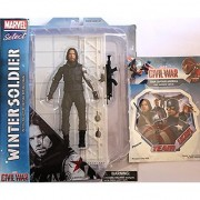 Diamond Select Toys Marvel Select: Captain America: Civil War: Winter Soldier Action Figure Bundle includes Team Cap Vinyl Window Decal Sticker