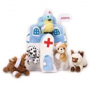 Plush Animal Hospital House with Animals - Five (5) Stuffed Injured Animals (Bear Dalmatian Cat Bird Moose) in Play Hospital Carrying Case