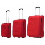 Zestaw trzech walizek Puccini EM50307 w kolorze czerwonym