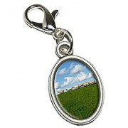 Graphics and More Flock of Sheep - Counting Antiqued Bracelet Pendant Zipper Pull Oval Charm with Lobster Clasp