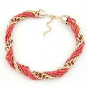 BAGISIMO Růžový korálkový náhrdelník