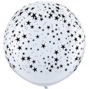 Baloane latex Jumbo 3 ft inscriptionate Stars-A-Round White, Qualatex 29265,1 buc
