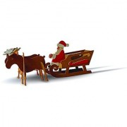 TruTru Animals Santa's Sleigh European 3D Puzzle DIY Craft Kit ; Arts and Crafts Model Kit
