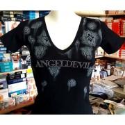 Angel Devil T-shirt donna Angel Devil scollo V con stampa e logo in strass