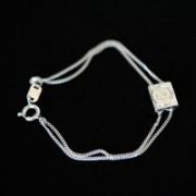 Pulseira de Prata 925 Escapulario Estrela de Davi / Simbolo Chai 14cm