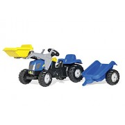 Rolly Toys 23929 - Trattore a Pedali Kid New Holland T7550, con Ruspa e Rimorchio