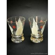 Coppia di vecchi bicchieri in vetro pitturati a285