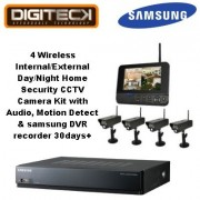 4 inalámbrico disco duro interno/externo día/noche en casa de seguridad juego de cámara con entrada de Audio, movimiento detecta y 500 GB videocámara DVR para