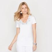 T-shirt, V-hals met borduursel