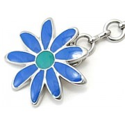 D&G DJ0429 Silver Chain Pendant Necklace Blue Flower Charm