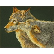 """Wolf Kiss Counted Cross Stitch Kit-14""""""""X11"""""""" 14 Count"""