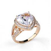 Anéis Diário Casual Jóias Liga Zircão Feminino Anel 1peça,6 7 8 9 Prateado Ouro Rose