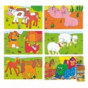 Woodyland 3 x 5 Happy motore e Farm Animals Cubi Picture Puzzle (15 pezzi)