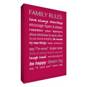 "Feel Good Art - Tela A4 in canvas ""Family Rules"", per la cameretta del bambino, colore: Fucsia"