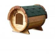 VB ITALIA Cuccia da esterno in legno di alta qualità per cani a forma di botte