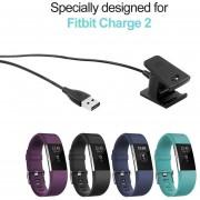 2pcs 1M/55cm USB Cable Cargador para Fitbit Charge 2 Reemplazo -Negro