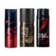 Men Deodorant Collection SPARK DARK TEMPTATION and RED (Set of 3 pcs)-150 ml each(ks kamasutra Wild Stone Axe)