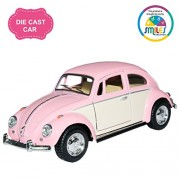 Smiles Creation Kinsmart 1:32 Scale 1967 Volkswagen Classical Beetle Ivory Door Classic Car Toy, Pink (5-inch)