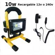 Foco proyector led recargable 10w 4000 amp epistar luz blanca 6000k IP65