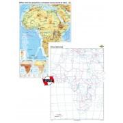 Africa. Harta fizico-geografică şi aprincipalelor resurse naturale de subsol – Duo 70x100 cm
