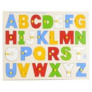 Skillofun Wooden Alphabet Picture Tray with Knobs, Multi Color