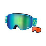 FRAMELESS Ski Goggles: Dirty Dog 'MUTANT' Interchangeable Ski/Snowboard Goggles - Blue Frame with Green/Orange Lenses