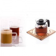 Borosil Carafe With Strainer In Lid 650 Ml With Vision Classic Mugs 190Ml Set Of 6 (Combo Of 2)