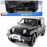 """Maisto Year 2014 Special Edition Series 1:18 Scale Die Cast Car Set - Black Color SWAT Police Team Armored Response Vehicle ARV JEEP RESCUE CONCEPT (Car Dimension: 10"""" x 4"""" x 4"""") by Maisto"""