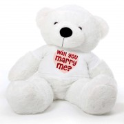 White 5 feet Big Teddy Bear wearing a Will You Marry Me T-shirt
