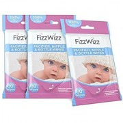 FizzWizz Pacifier Nipple and Bottle Wipes 30 Count 3 Pack