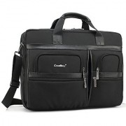 Laptop Briefcase CoolBell 17.3 Inch Protective Messenger Bag Nylon Shoulder Bag Multi-functional Hand Bag For Laptop / Ultrabook / Tablet / Macbook / Dell / HP / Acer / Men/Women/Business (Black)