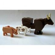 Custom Farm Animal MInifigure Lot -Brickforge Pigs & Cow- Lego Compatible