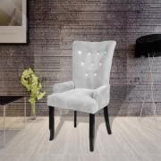 vidaXL Křeslo / jídelní židle, černé dřevo, čalounění stříbrný samet