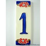 Numero civico ceramica con fiore nfp1