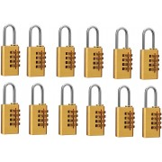 DOCOSS Set Of 12-4 Digit Brass Small Number Bag Travel Luggage Resettable Password Safety Lock(Gold)