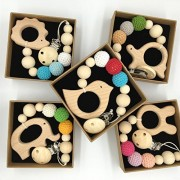 Coskiss 5Pcs Baby Pacifier Clip Wooden Animal Teether Eco-friendly Teething Crochet Beads Chew Nipple Folder Shaped Rattle Christmas Gift (Color 13)