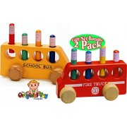 The Original Toy Company Pop Up Wooden Fire Truck & Pop Up Wooden School Bus Gift Set Bundle 2 Pack