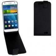 Vertical Flip Magnetic Snap Leather Case for Huawei Ascend G7(Black)