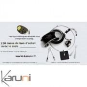 Chèque cadeau Karuni Chèque Cadeau en ligne bijoux décoration boutique Karuni - 120 euros ( Chèque Cadeau éthique 120 euros )