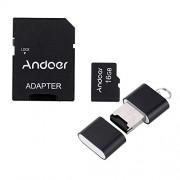 Andoer 16GB Classe 10 Memory Card TF Card + Adattatore + Lettore di Schede Flash USB per la Macchina Fotografica dell'automobile della Macchina Fotografica del Telefono delle Cellule Tabella PC GPS