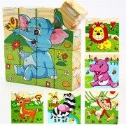 Volks Rose 16 Pcs Wooden Cube Block Jigsaw Puzzles Forest Animal Pattern Blocks Puzzle For Child 1 Year And Up Perfect Christmas Gift For Your Kids