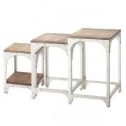 Maisons du monde 3 tavolini bianchi da salotto estraibili in metallo L 55 cm Arcachon