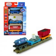 """Fisher Price Year 2010 Thomas And Friends Trackmaster Motorized Railway 3 Pack Train Car Set """"Sodor Search & Rescue Cars"""" With Water Tanker, Flat Bed Trailer With Search Light And Coal Wagon Plus 3 Straight Tracks (T4648)"""