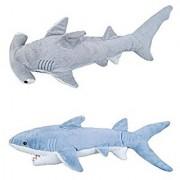 ADVENTURE PLANET - Set of 2 Plush SHARKS - 14 MAKO & 13 HAMMERHEAD Shark - Stuffed Animal - OCEAN Life - Soft Cuddly S