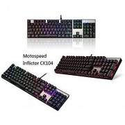 Hotkey Motospeed Inflictor CK104 Mechanical USB Keyboard Switches Colorful LED Illuminated Backlit RGB SLWater Resistant Gaming Keyboard with Blue Switch for Gamers Anti-ghosting Keyboard