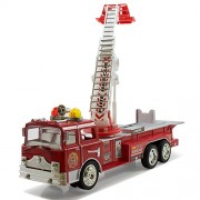 Kidsthrill Bump And Go Electric Rescue Fire Engine Ladder Truck - Kids Action Toy With Lights And Sounds