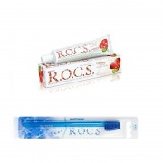 Pasta de dinti adulti R.O.C.S. Grapefruit & Mint + Periuta de Dinti R.O.C.S. Toothbrush Whitening medium